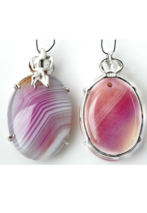 www.sayila.com - 925 Silver pendant oval with natural stone Agate 38x23mm