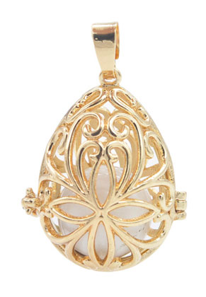 www.sayila.co.uk - Metal pendant angel caller/Prayer Box with chime ball 41x27mm