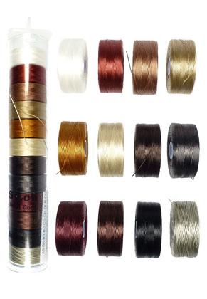 www.sayila.nl - Mix S-Lon Bead Cord/nylondraad 35 tex, 70m per rol en 0,09mm dik