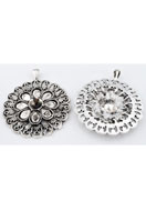 www.sayila.co.uk - Metal pendant/charm round 61x51mm with settings for pointed backs and drop flat back - E00700