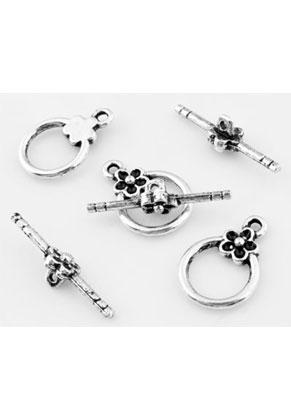 www.sayila.es - Cierres aro y barrita de metal con flor 20x14mm