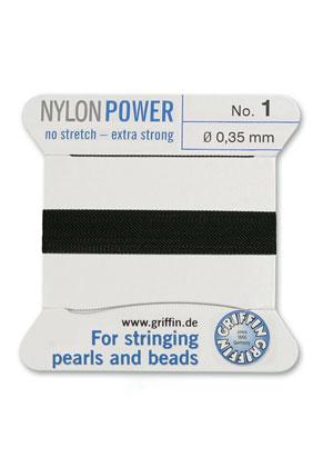 www.sayila-perlen.de - Griffin NylonPower Perlseide mit Nadel No. 1, 0,35mm dick