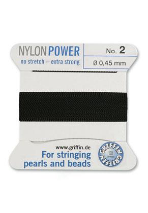www.sayila-perlen.de - Griffin NylonPower Perlseide mit Nadel No. 2, 0,45mm dick