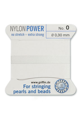 www.sayila-perlen.de - Griffin NylonPower Perlseide mit Nadel No. 0, 0,3mm dick