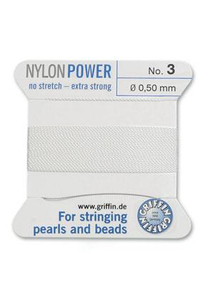 www.sayila-perlen.de - Griffin NylonPower Perlseide mit Nadel No. 3, 0,5mm dick