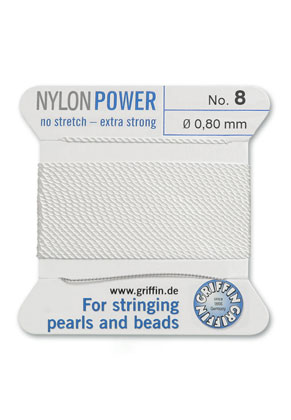 www.sayila-perlen.de - Griffin NylonPower Perlseide mit Nadel No. 8, 0,8mm dick
