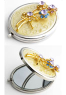 www.sayila.com - Metal pocket-mirror with flowers, epoxy and strass 77x59mm - E00798