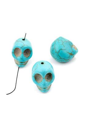 www.sayila.nl - Natuursteen kralen Turquoise Howlite doodshoofd/schedel 18x17mm
