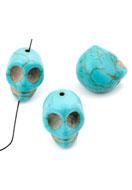 www.sayila.com - Natural stone beads Turquoise Howlite skull 18x17mm - E00996