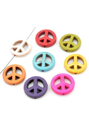 www.sayila.com - Mix natural stone beads Turquoise Howlite peace sign 20mm
