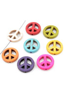 www.sayila.com - Mix natural stone beads Turquoise Howlite peace sign 20mm - E01016