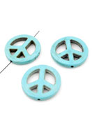 www.sayila.com - Natural stone beads Turquoise Howlite peace sign 25mm - E01017