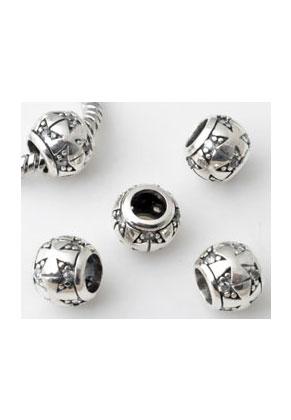 www.sayila-perlen.de - Grossloch-Stil 925er Silber Perle mit Zirkonia 9x8mm