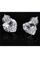 www.sayila.co.uk - 925 Silver ear studs with zirconia heart 15x7mm - E01229