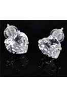 www.sayila.nl - 925 Zilveren oorstekers met zirkonia hartje 15x7mm - E01229