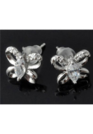 www.sayila.co.uk - 925 Silver ear studs butterfly with zirconia 14x10x9mm - E01232
