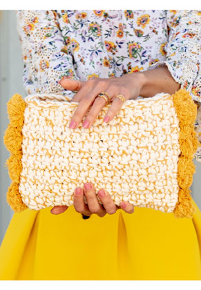 www.sayila.co.uk - Hoooked DIY Crochet kit Pompom clutch Santorini