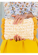 www.sayila.co.uk - Hoooked DIY Crochet kit Pompom clutch Santorini - E01307