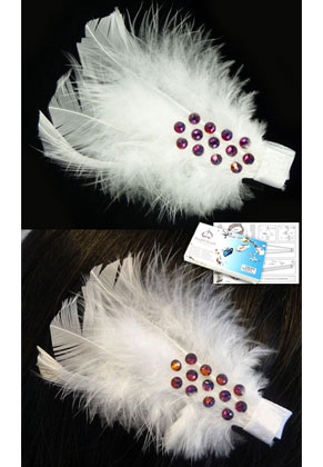 www.sayila-perlen.de - DoubleBeads Schmuckpaket Chic Feather Haarspange 8cm mit SWAROVSKI ELEMENTS