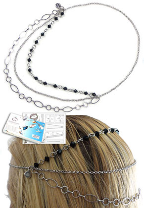 www.sayila-perlen.de - DoubleBeads Schmuckpaket Jewel Haarschmuck ± 50cm mit SWAROVSKI ELEMENTS