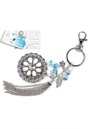 www.sayila-perlen.de - DoubleBeads Schmuckpaket Blue Lily Schlüsselanhänger ± 19cm mit SWAROVSKI ELEMENTS