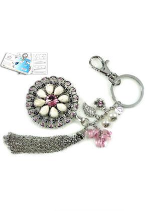 www.sayila.nl - DoubleBeads Sieradenpakket Pink Lily sleutelhanger ± 19cm met SWAROVSKI ELEMENTS