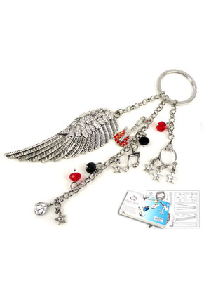 www.sayila-perlen.de - DoubleBeads Schmuckpaket Rocking Red Schlüsselanhänger ± 16cm mit SWAROVSKI ELEMENTS