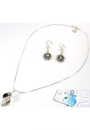 www.sayila-perlen.de - DoubleBeads Schmuckpaket Starlight Halskette und Ohrringe mit SWAROVSKI ELEMENTS