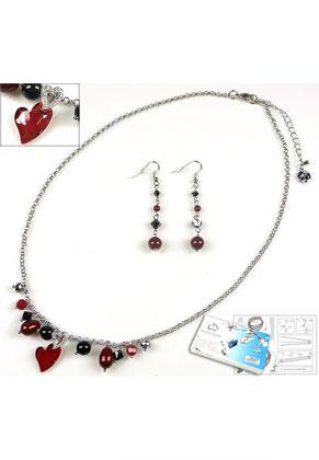 www.sayila-perlen.de - DoubleBeads Schmuckpaket Vampire Love Halskette und Ohrringe mit SWAROVSKI ELEMENTS