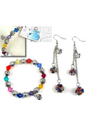 www.sayila-perlen.de - DoubleBeads Schmuckpaket Rainbow Glamour Armband und Ohrringe mit SWAROVSKI ELEMENTS