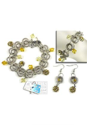 www.sayila-perlen.de - DoubleBeads Schmuckpaket Buttercup Armband und Ohrringe mit SWAROVSKI ELEMENTS