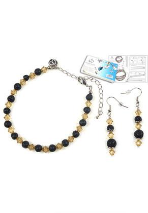 www.sayila-perlen.de - DoubleBeads Schmuckpaket Magma Armband und Ohrringe mit SWAROVSKI ELEMENTS
