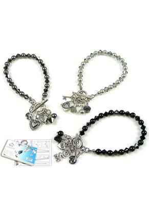 www.sayila.fr - DoubleBeads Kit de Bijoux Diamond Hearts bracelet, largeur intérieure ± 19cm (jeu de 3 pièces) avec SWAROVSKI ELEMENTS