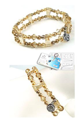 www.sayila.com - DoubleBeads Jewelry Kit Nostalgic Charm bracelet stretchable, smallest size ± 18cm with SWAROVSKI ELEMENTS