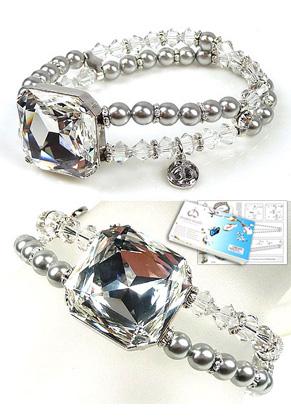 www.sayila.com - DoubleBeads Jewelry Kit Crystal Mirror bracelet stretchable, inner size ± 18cm, with SWAROVSKI ELEMENTS