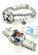 www.sayila.com - DoubleBeads Jewelry Kit Crystal Mirror bracelet stretchable, inner size ± 18cm, with SWAROVSKI ELEMENTS - E01654