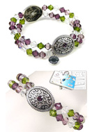 www.sayila-perlen.de - DoubleBeads Schmuckpaket Medieval Treasure Armband elastisch, Innermaß ± 18cm, mit SWAROVSKI ELEMENTS - E01655