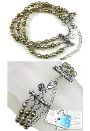 www.sayila-perlen.de - DoubleBeads Schmuckpaket Jungle Chic Armband, Innermaß ± 21-29cm, mit SWAROVSKI ELEMENTS