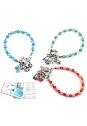 www.sayila.nl - DoubleBeads Sieradenpakket Diamond Hearts armband, binnenmaat ± 19cm (set van 3 stuks) met SWAROVSKI ELEMENTS