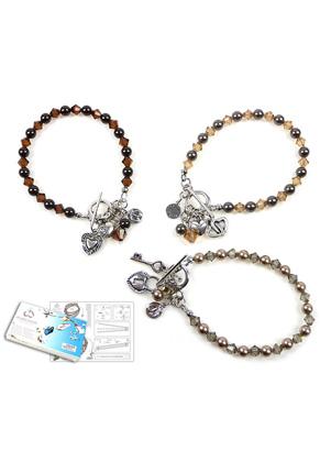www.sayila-perlen.de - DoubleBeads Schmuckpaket Diamond Hearts Armband, Innermaß ± 19cm (Satz von 3 Stücke) mit SWAROVSKI ELEMENTS