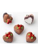 www.sayila-perles.be - Pendentifs/breloques en synthétique gâteau en forme de coeur 15mm - E01891