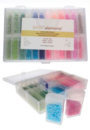 www.sayila.nl - Beadsmith Basic elements mix glas rocailles/borduurkralen in kunststof doosjes