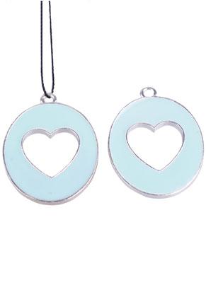 www.sayila.com - Metal pendant oval with epoxy and heart 33x25mm