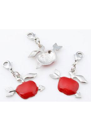 www.sayila-perlen.de - Metall Anhänger Apfel mit Pfeil und Verschluss 40x28mm