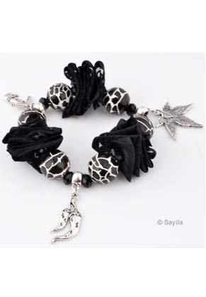 www.sayila-perlen.de - EasyPack Perlenset Armband von Glasperlen, Porzellan Perlen, Metall Anhänger und Band, elastisch, Innermaß ± 17cm