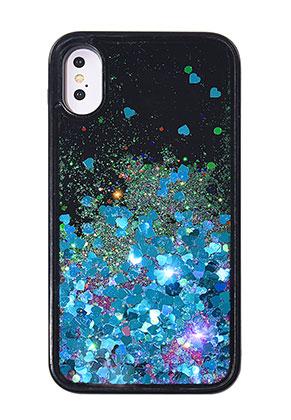 www.sayila.nl - Kunststof back cover telefoonhoesje voor iPhone X met glitters 14,7x7,4cm