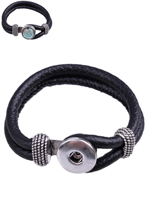 www.sayila.com - DoubleBeads EasyButton imitation leather bracelet, innersize ± 19cm