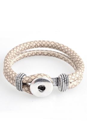 www.sayila.es - DoubleBeads EasyButton pulsera de cuero artificial, tamaño interno ± 19cm