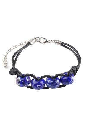 www.sayila.com - Bracelet with wax cord and glass beads 19-23cm
