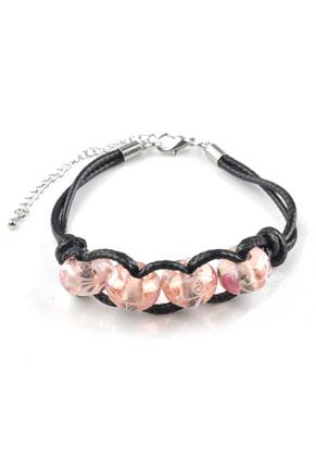 www.sayila-perlen.de - Armband mit Wachsschnur und Glasperlen 19-23cm